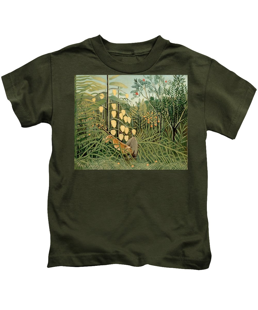 Henri Rousseau Kids T-Shirt featuring the painting Struggle Between Tiger And Bull by Henri Rousseau