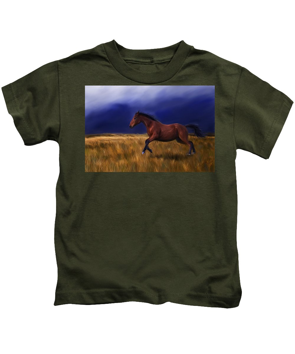 Horse Kids T-Shirt featuring the painting Galloping Horse Painting by Michelle Wrighton