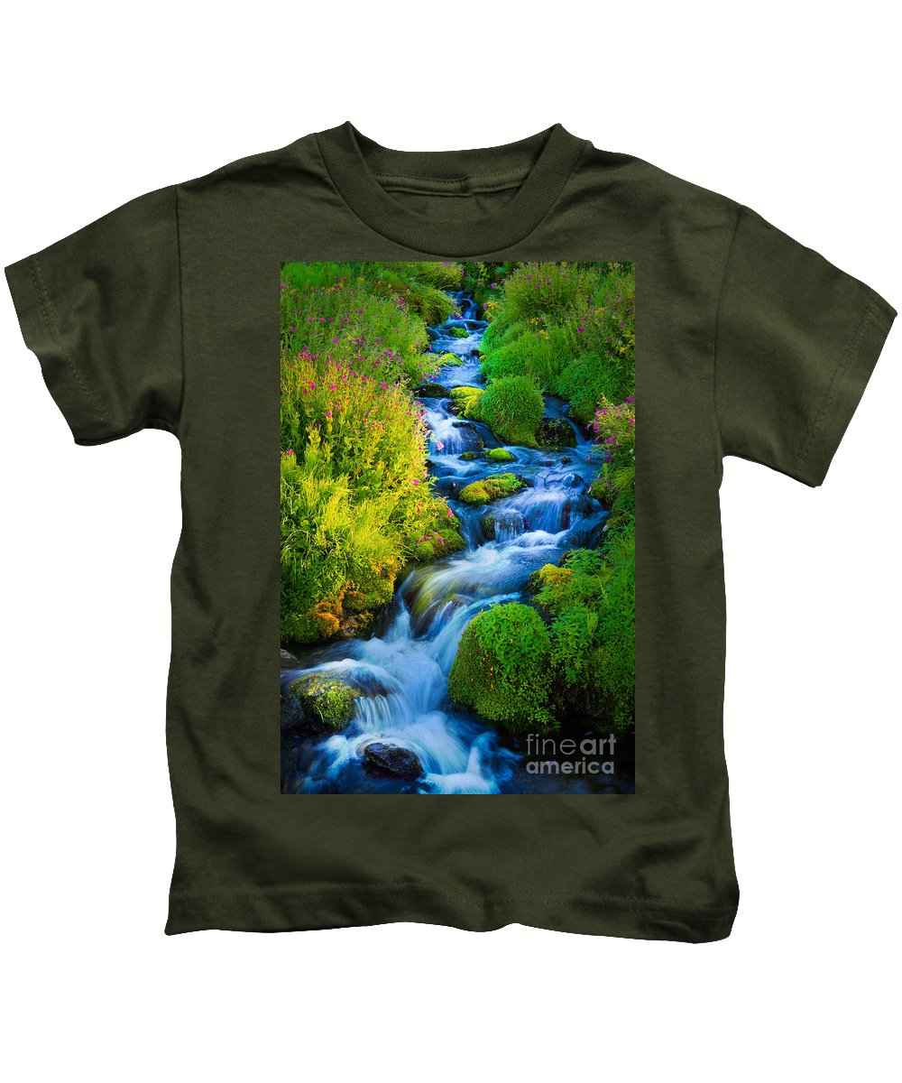 America Kids T-Shirt featuring the photograph Summer Cascade by Inge Johnsson