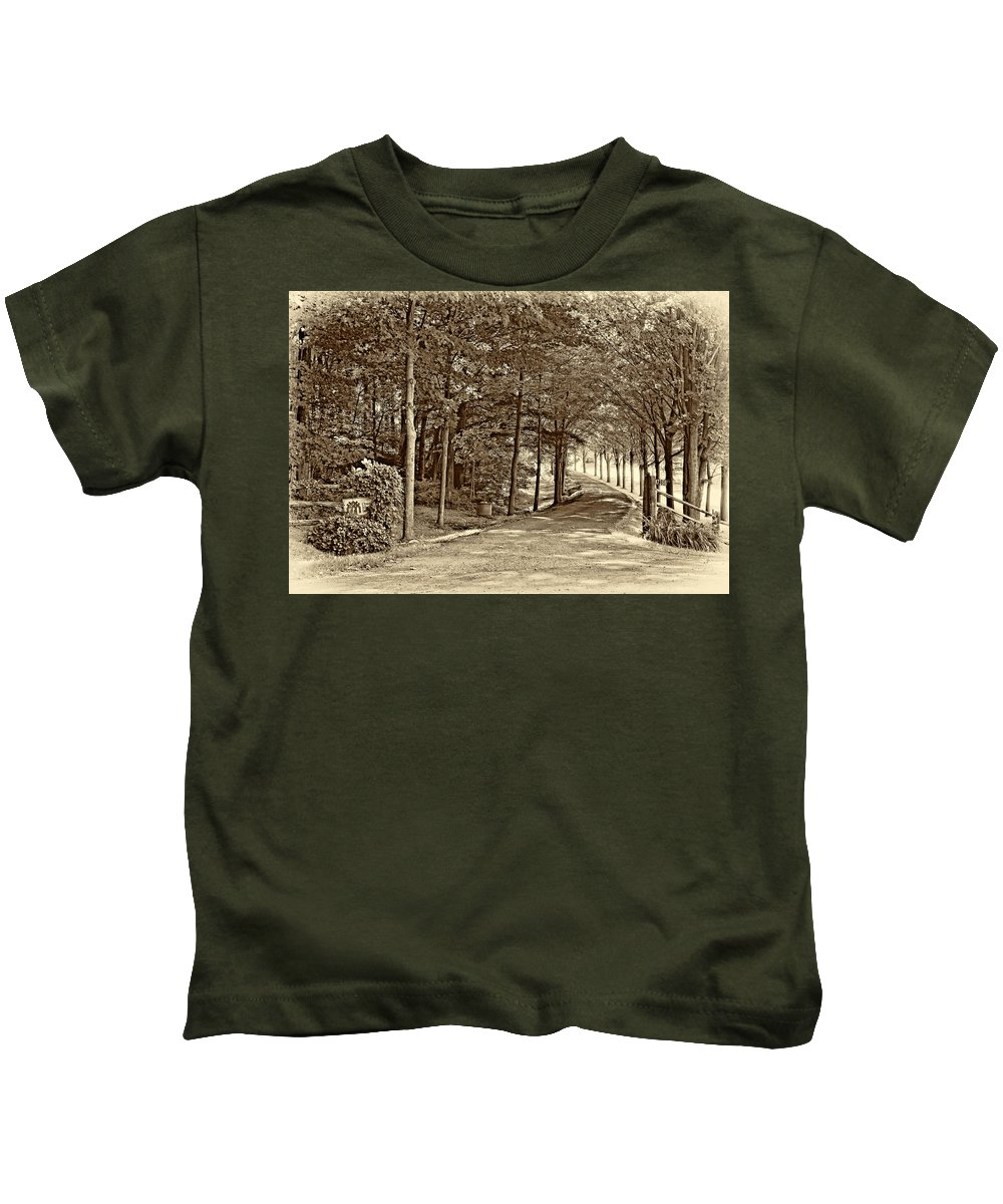 Country Kids T-Shirt featuring the photograph Summer Lane Sepia by Steve Harrington