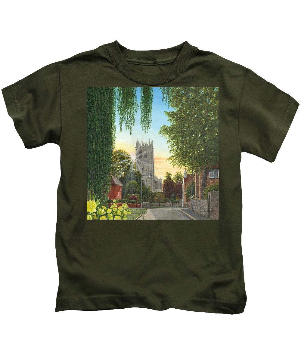 Landscape Kids T-Shirt featuring the painting Summer Morning St. Mary by Richard Harpum