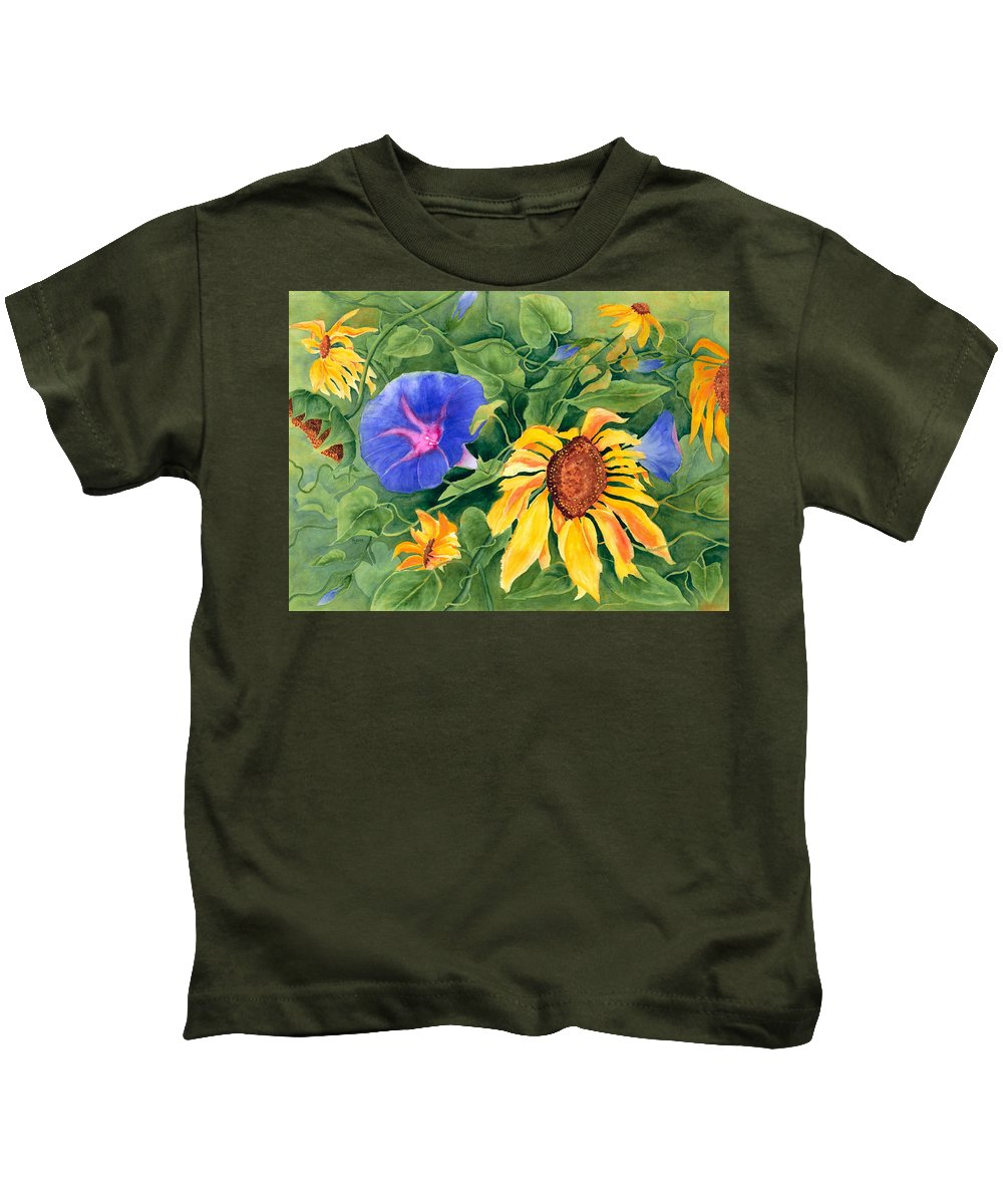 Sunflower Kids T-Shirt featuring the painting Summer Tango by Rhonda Leonard