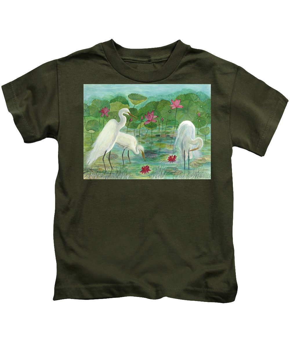 Lily Pads; Egrets; Low Country Kids T-Shirt featuring the painting Summer Trilogy by Ben Kiger
