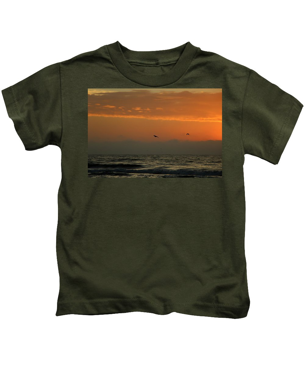 Topsail Kids T-Shirt featuring the photograph Sun Up With Birds by Rand Wall