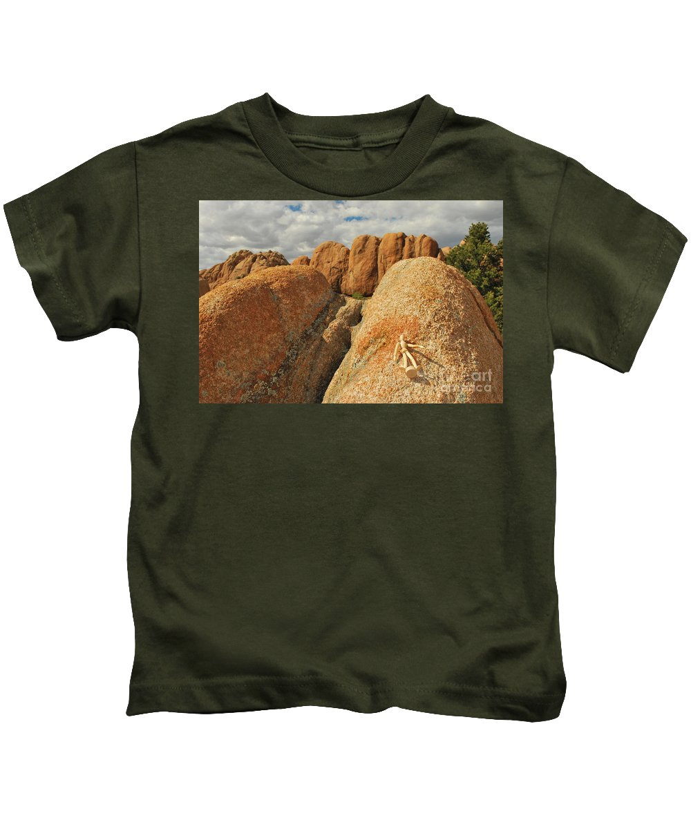 Granite Kids T-Shirt featuring the photograph Sunbathing In The Raw by Heather Kirk
