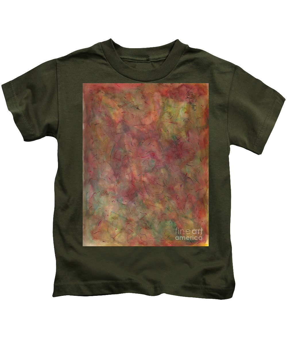 Abstract Kids T-Shirt featuring the painting Sunday Morning by Myrtle Joy