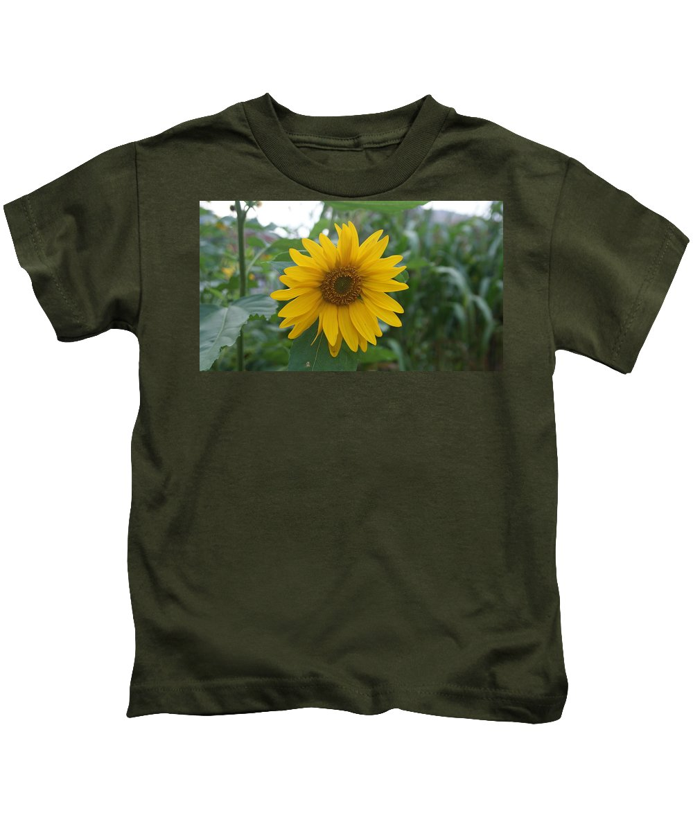 Sunflower Kids T-Shirt featuring the photograph Sunflower Directly... by Rob Luzier