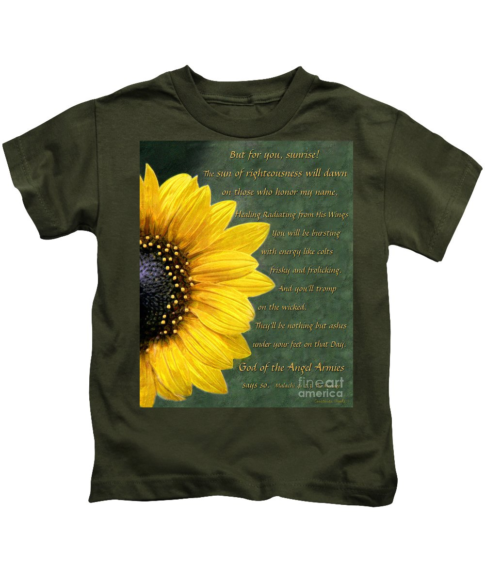 Sunflower Art Kids T-Shirt featuring the painting Sunflower Scripture by Constance Woods