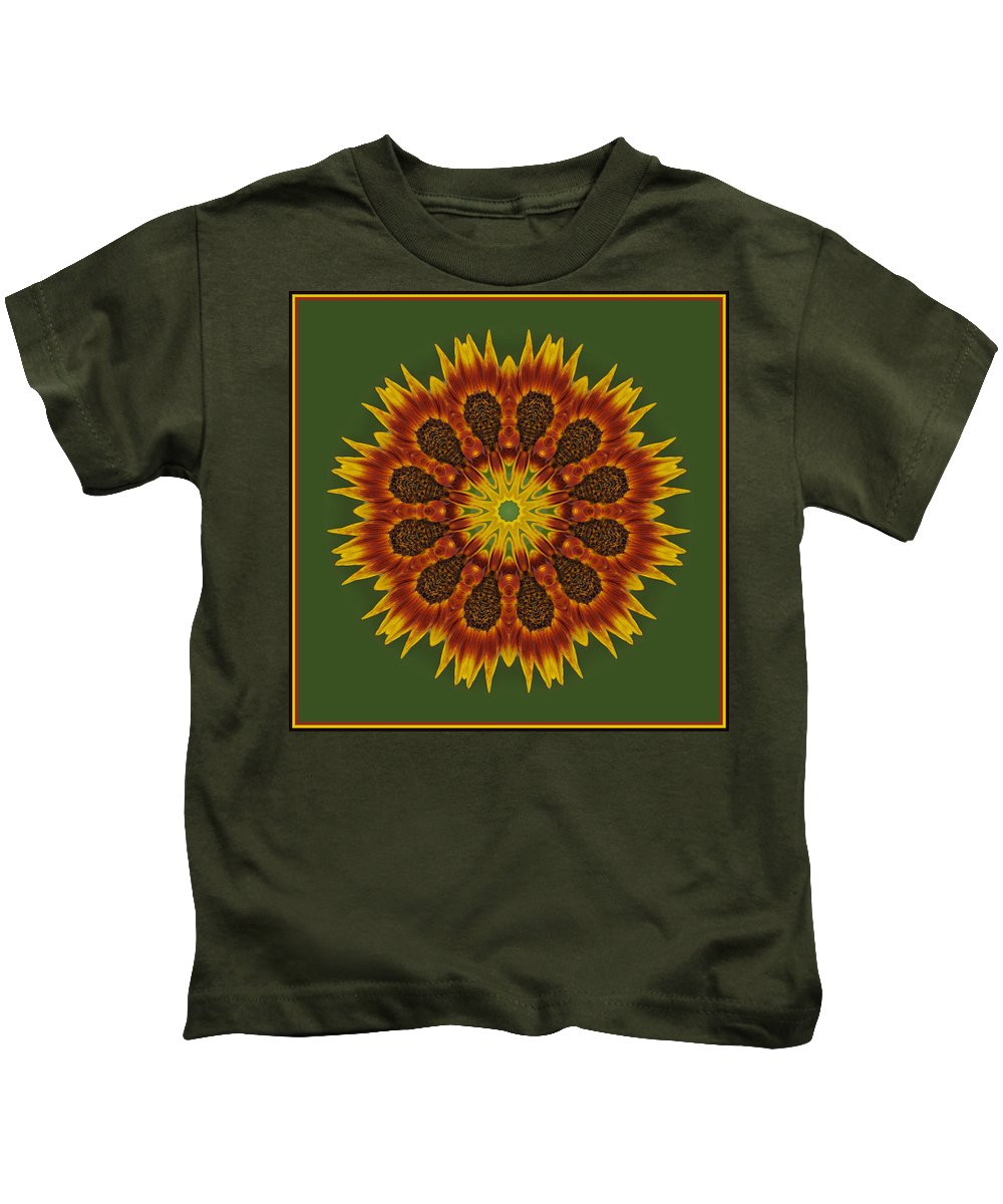 Abstract Kids T-Shirt featuring the photograph Sunflower Transformation by Liz Mackney