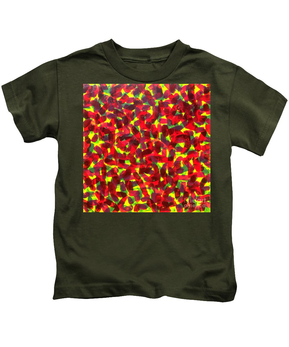 Abstract Kids T-Shirt featuring the painting Sunlight Through The Trees by Dean Triolo
