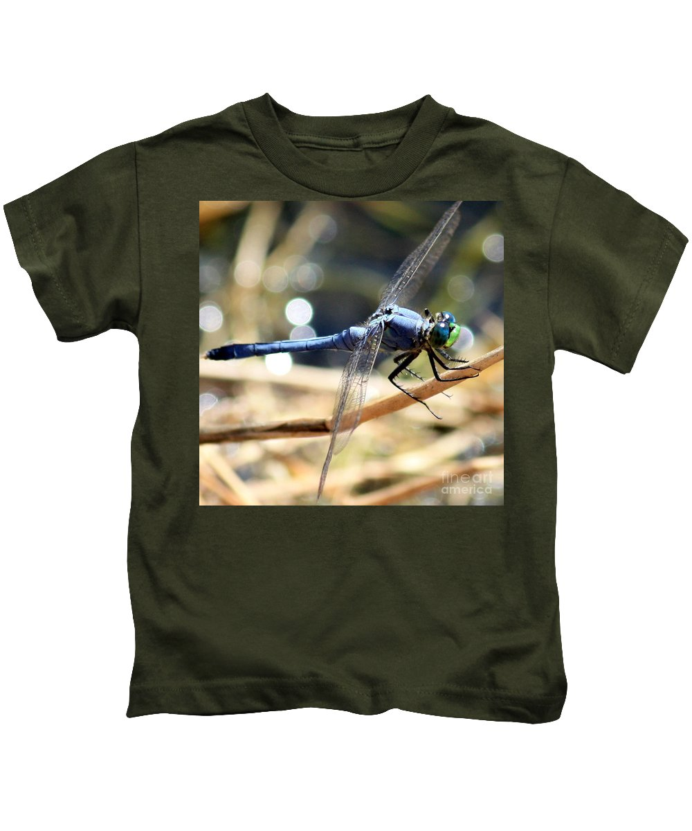 Dragonfly Kids T-Shirt featuring the photograph Sunning Blue Dragonfly Square by Carol Groenen
