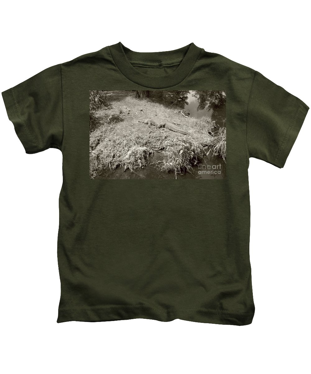 Sunning Kids T-Shirt featuring the photograph Sunny Gator Sepia by Joseph Baril