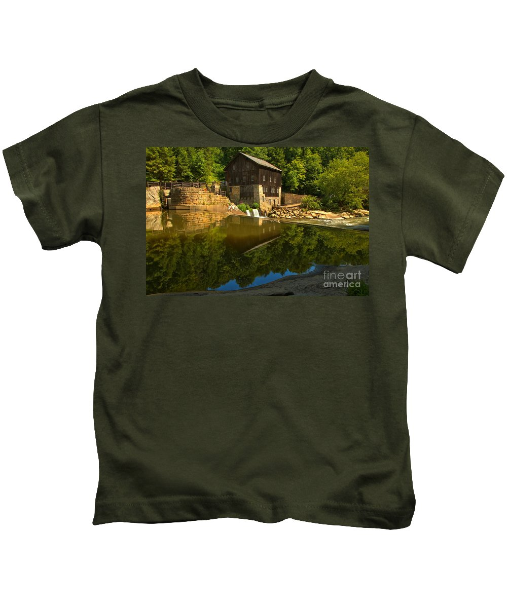 Mcconnells Mill State Park Kids T-Shirt featuring the photograph Sunny Refelctions In Slippery Rock Creek by Adam Jewell