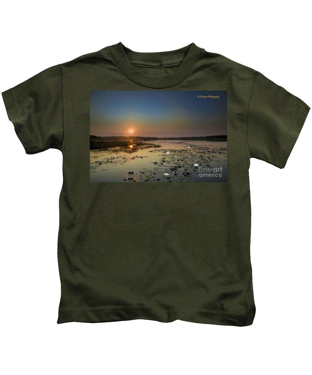 Sunrise Kids T-Shirt featuring the digital art Sunrise And Water Lilies by Barbara Bowen