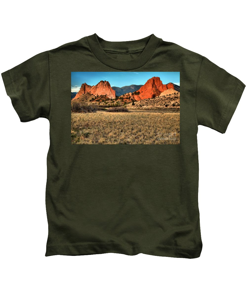Sunrise At Garden Of The Gods Kids T-Shirt featuring the photograph Sunrise At The Garden by Adam Jewell