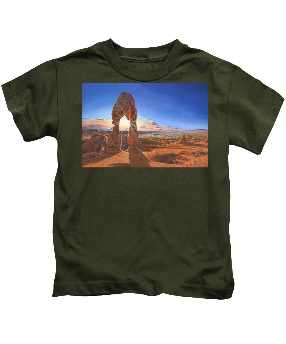 Delicate Arch Kids T-Shirt featuring the painting Sunset At Delicate Arch Utah by Richard Harpum