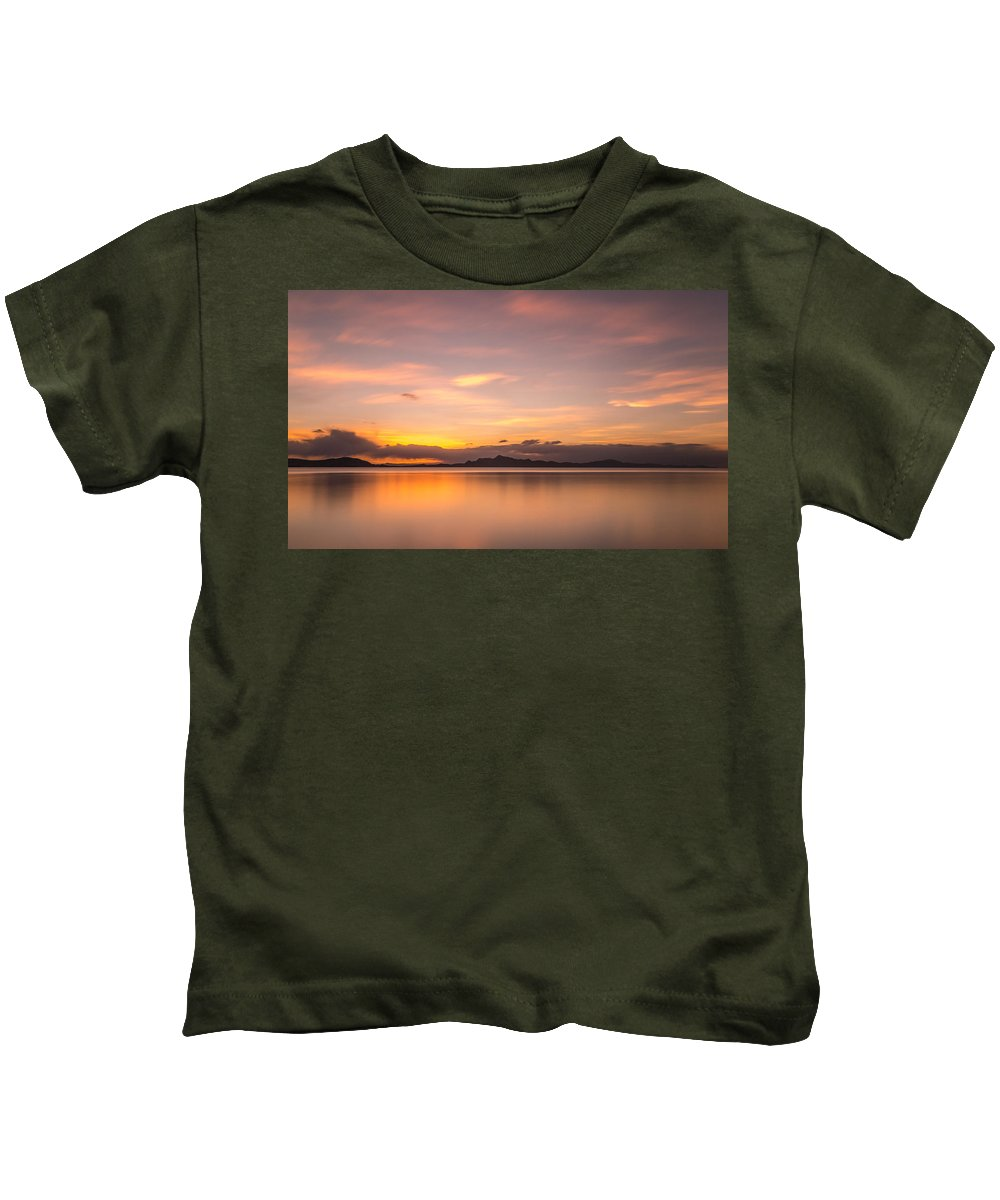 Sunset Kids T-Shirt featuring the photograph Sunset At Lake Titicaca - Peru by Christian Tuk