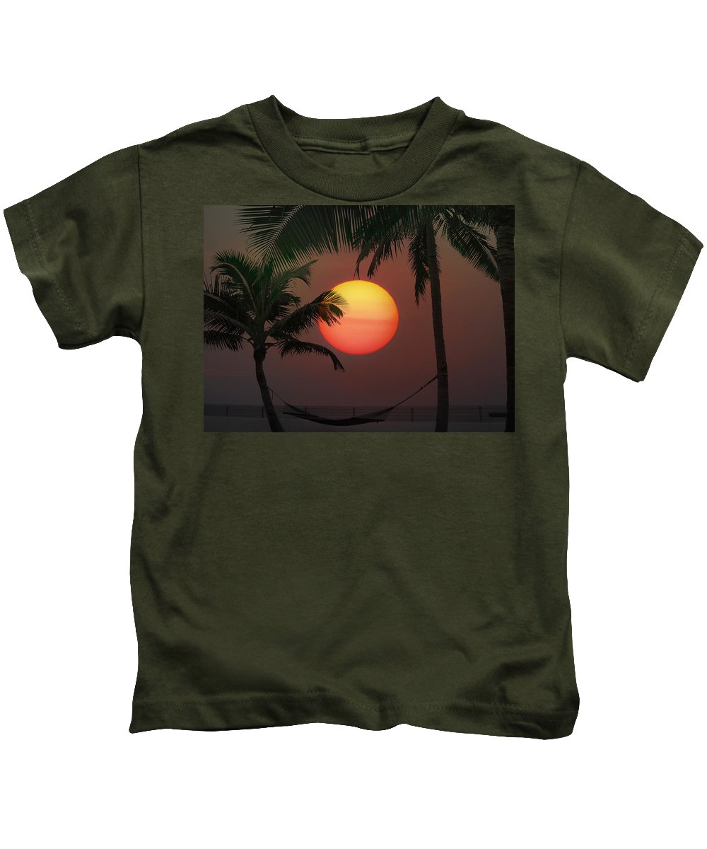 Sunset Kids T-Shirt featuring the photograph Sunset In The Keys by Bill Cannon
