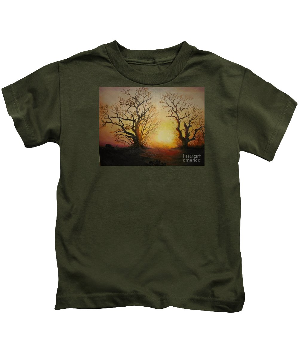 Sunset Kids T-Shirt featuring the painting Sunset by Sorin Apostolescu
