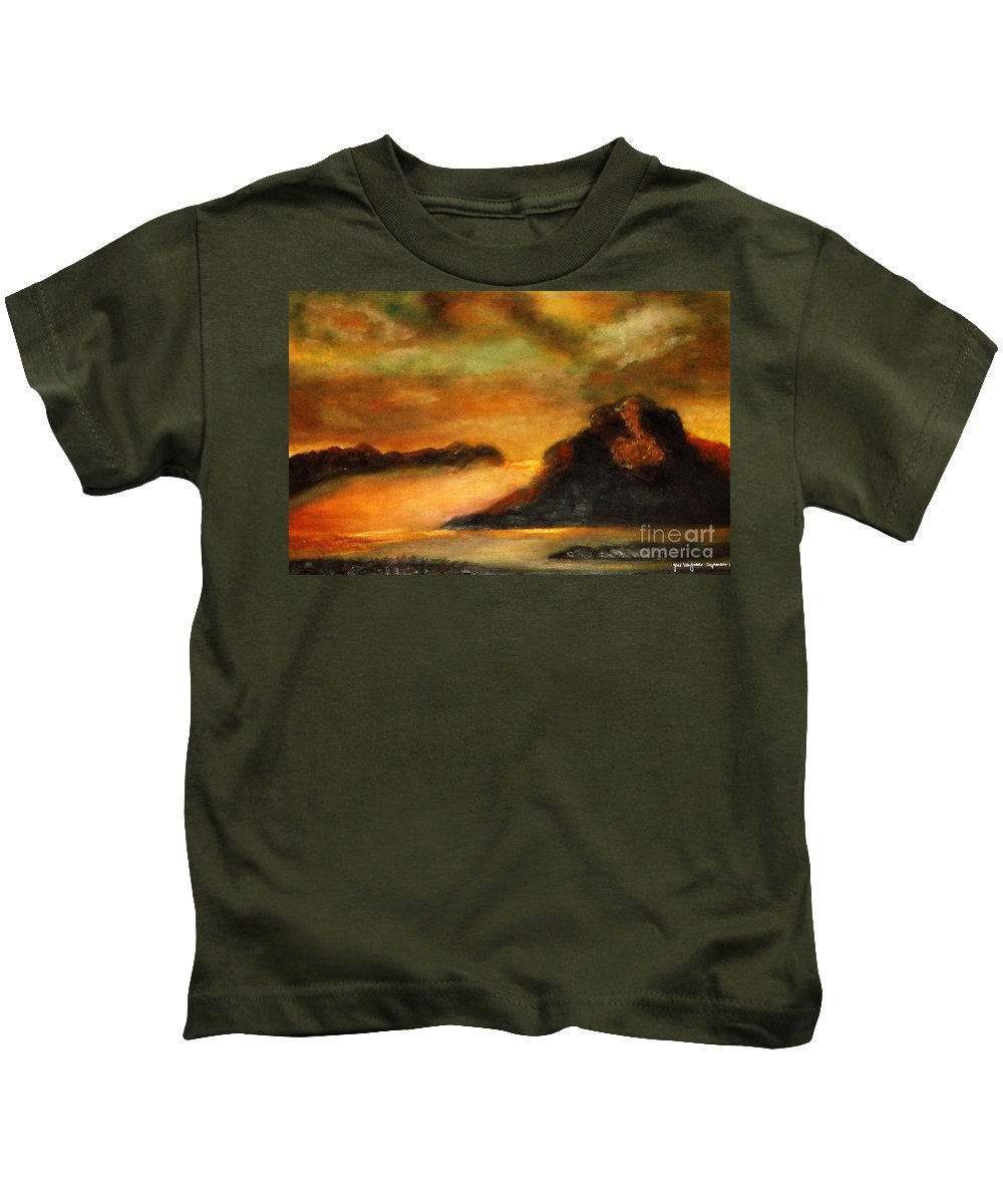Sunset Kids T-Shirt featuring the painting Sunset by Yael VanGruber