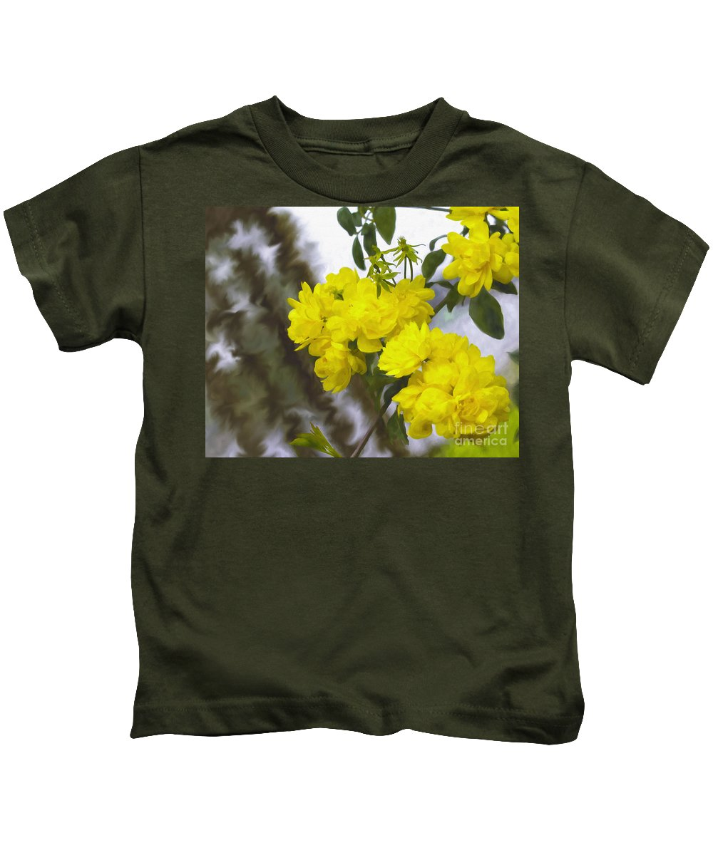 Rose Kids T-Shirt featuring the digital art Sunshine Rose by Ken Frischkorn