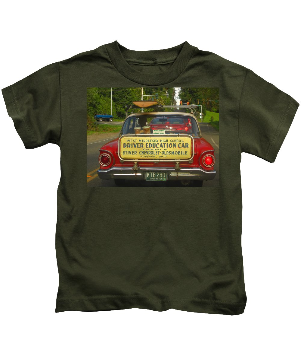 Transportation Kids T-Shirt featuring the photograph Surfboard Car With Bongos by Kym Backland