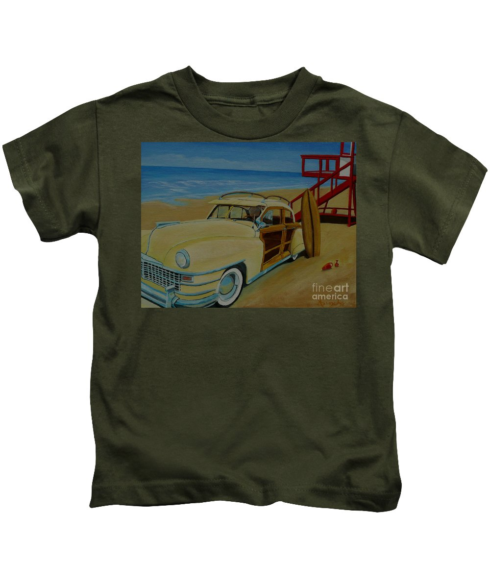 Woody Kids T-Shirt featuring the painting Surfers Woody by Anthony Dunphy
