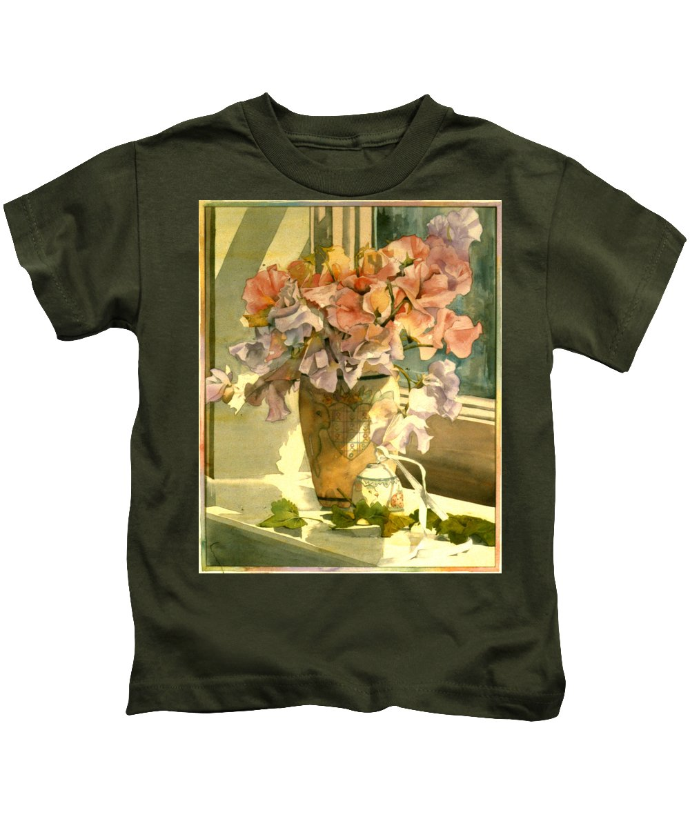 Julia Rowntree Kids T-Shirt featuring the photograph Sweetpea On The Windowsill by Julia Rowntree