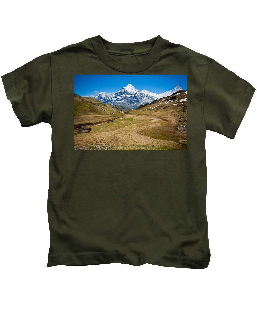 Alps Kids T-Shirt featuring the photograph Swiss Alps - Schreckhorn And Valley by Anthony Doudt