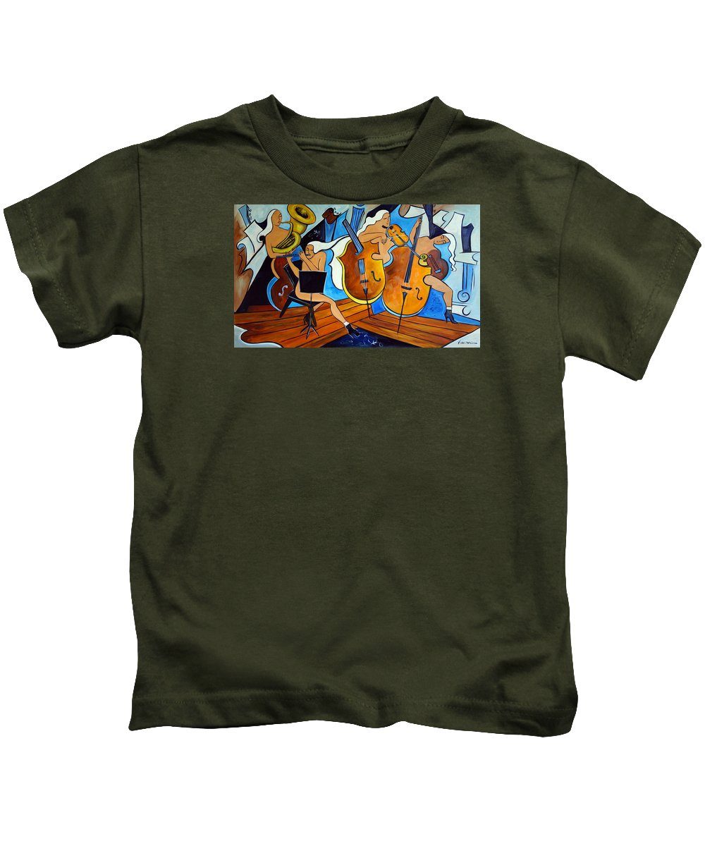 Musicians Kids T-Shirt featuring the painting Symphonie De Cobalt by Valerie Vescovi