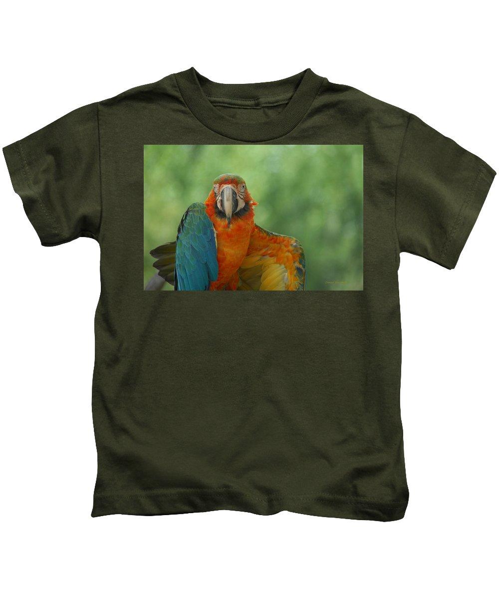 Parrot Kids T-Shirt featuring the photograph Ta Da by Donna Blackhall