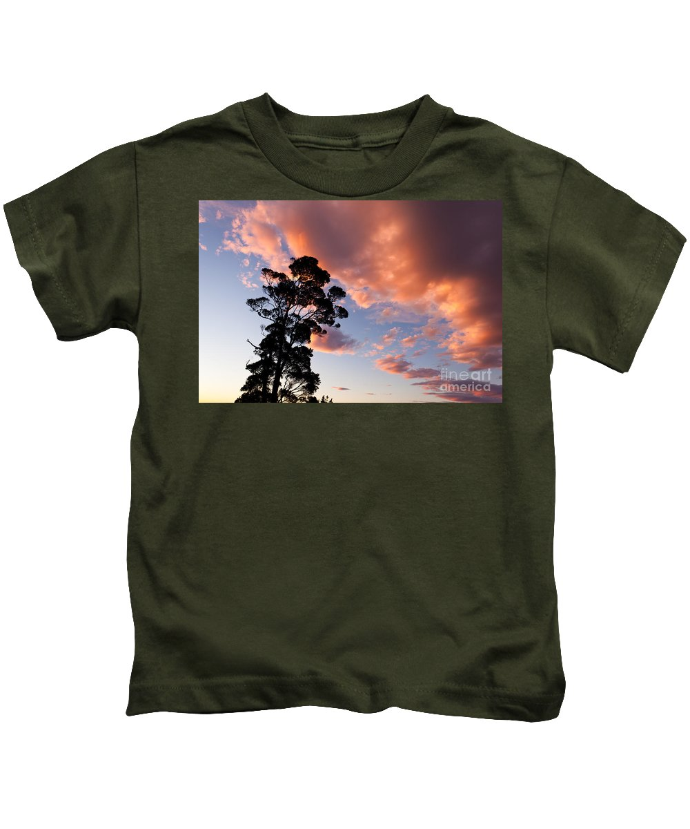 Atmosphere Kids T-Shirt featuring the photograph Tall Tree Against A Dramatic Sunset Clouds Sky by Stephan Pietzko