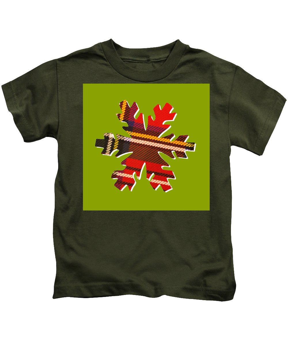 Christmas Kids T-Shirt featuring the digital art Tartan Snowflake On Green by Hal Halli