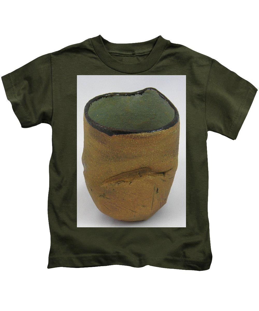 Tea Bowls Kids T-Shirt featuring the sculpture Tea Bowl #18 by Mario MJ Perron