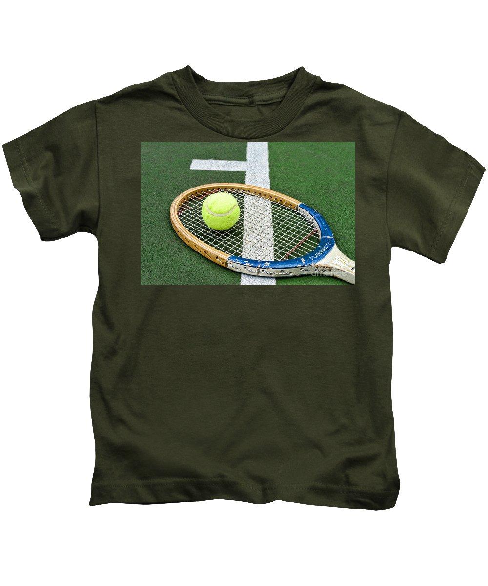 Paul Ward Kids T-Shirt featuring the photograph Tennis - Wooden Tennis Racquet by Paul Ward