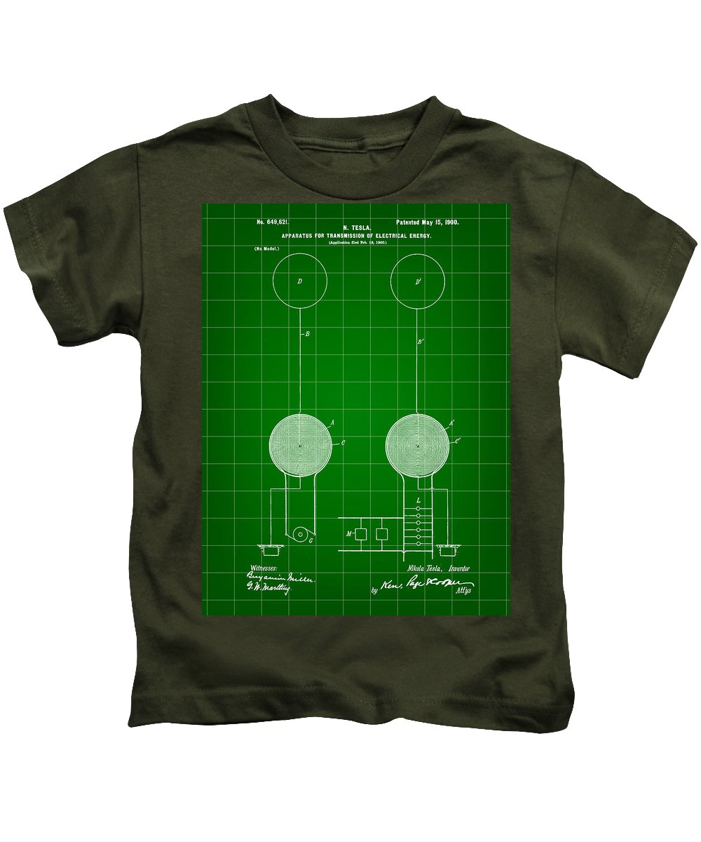 Tesla Kids T-Shirt featuring the digital art Tesla Electric Transmission Patent 1900 - Green by Stephen Younts
