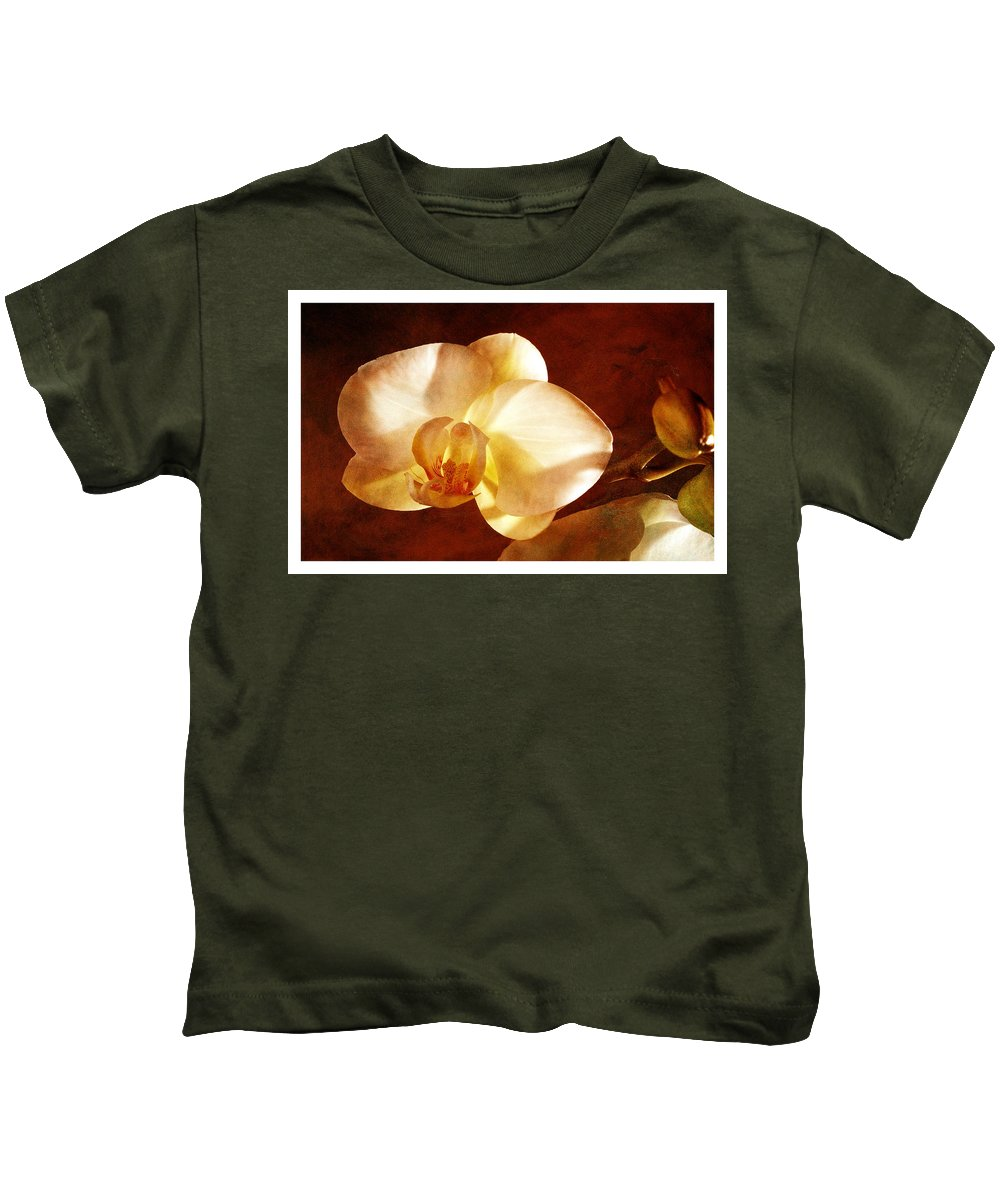 White Orchids On A Textured Background Kids T-Shirt featuring the photograph Textured Orchid by Mauro Celotti