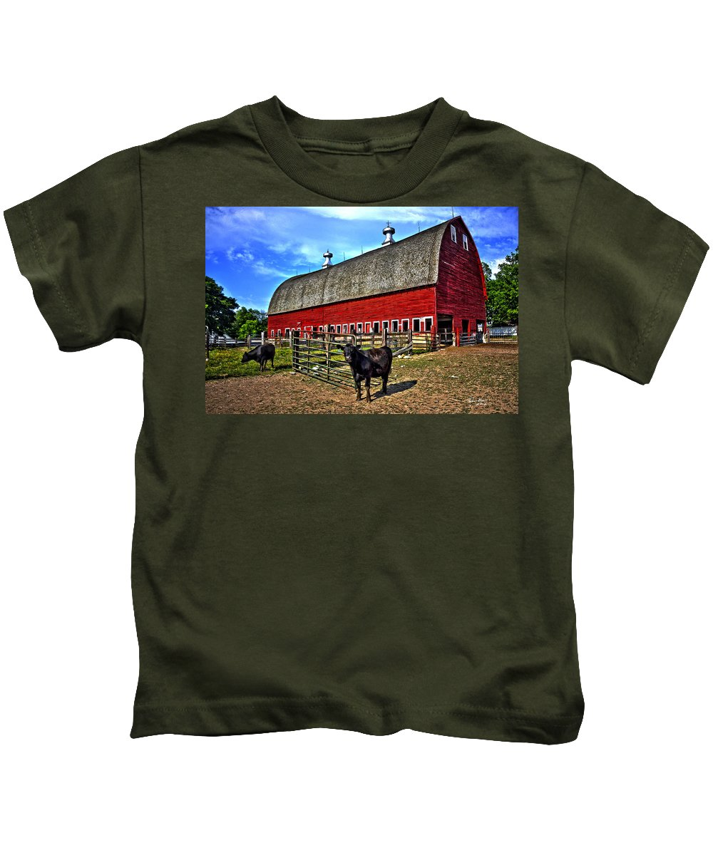 Barn Kids T-Shirt featuring the painting The Barnyard by Tom Bell