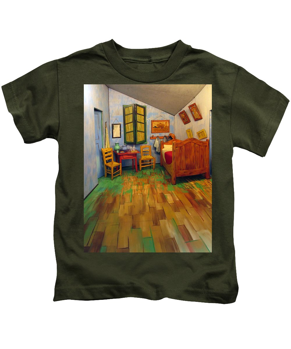Bedroom Kids T-Shirt featuring the photograph The Bedroom Of Van Gogh At Arles by Dave Mills