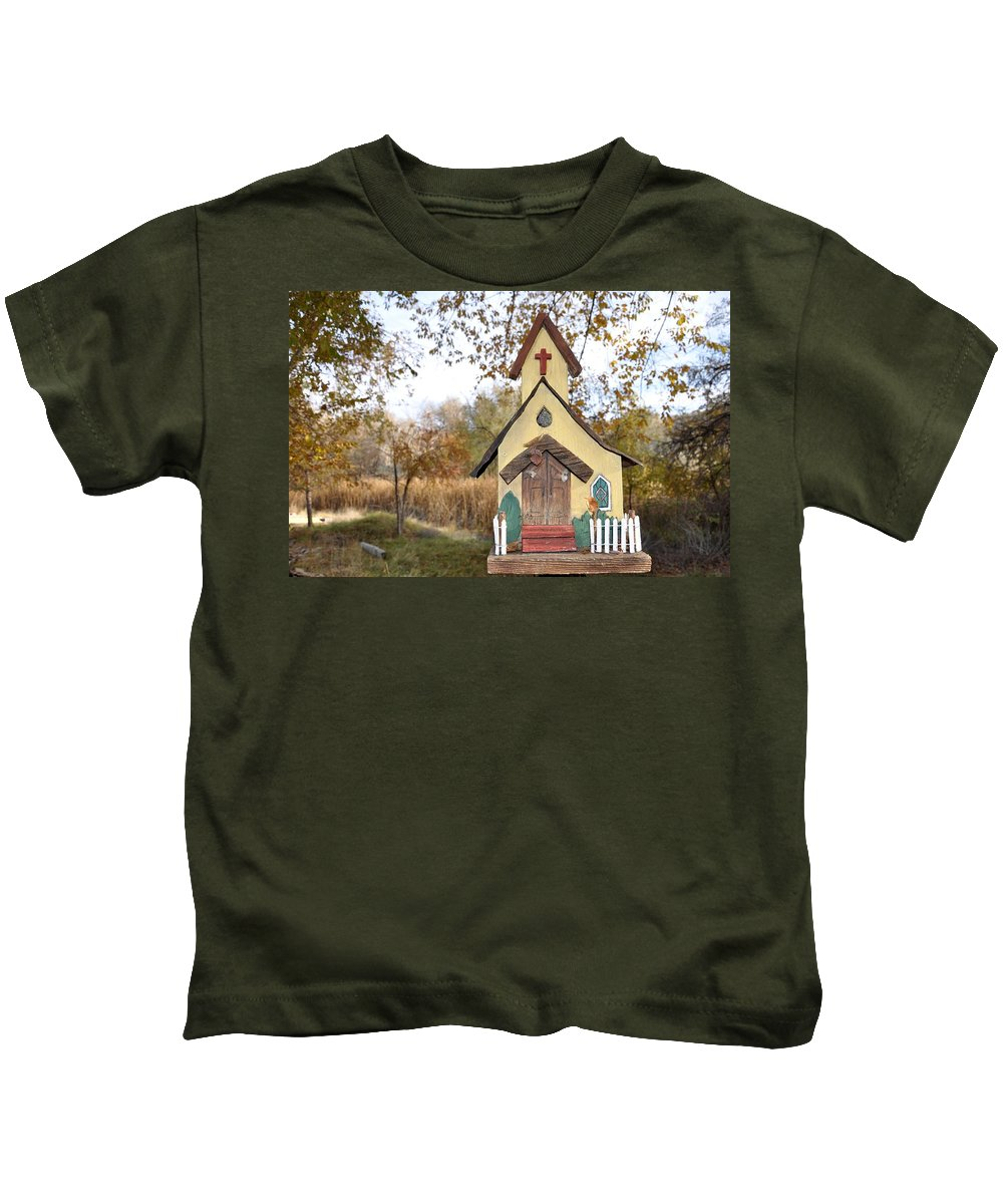 Melba; Idaho; Birdhouse; Shelter; Outdoor; Fall; Autumn; Leaves; Plant; Vegetation; Land; Landscape; Tree; Branch; House; Cross; Kids T-Shirt featuring the photograph The Birdhouse Kingdom - Lazuli Bunting by Image Takers Photography LLC - Carol Haddon
