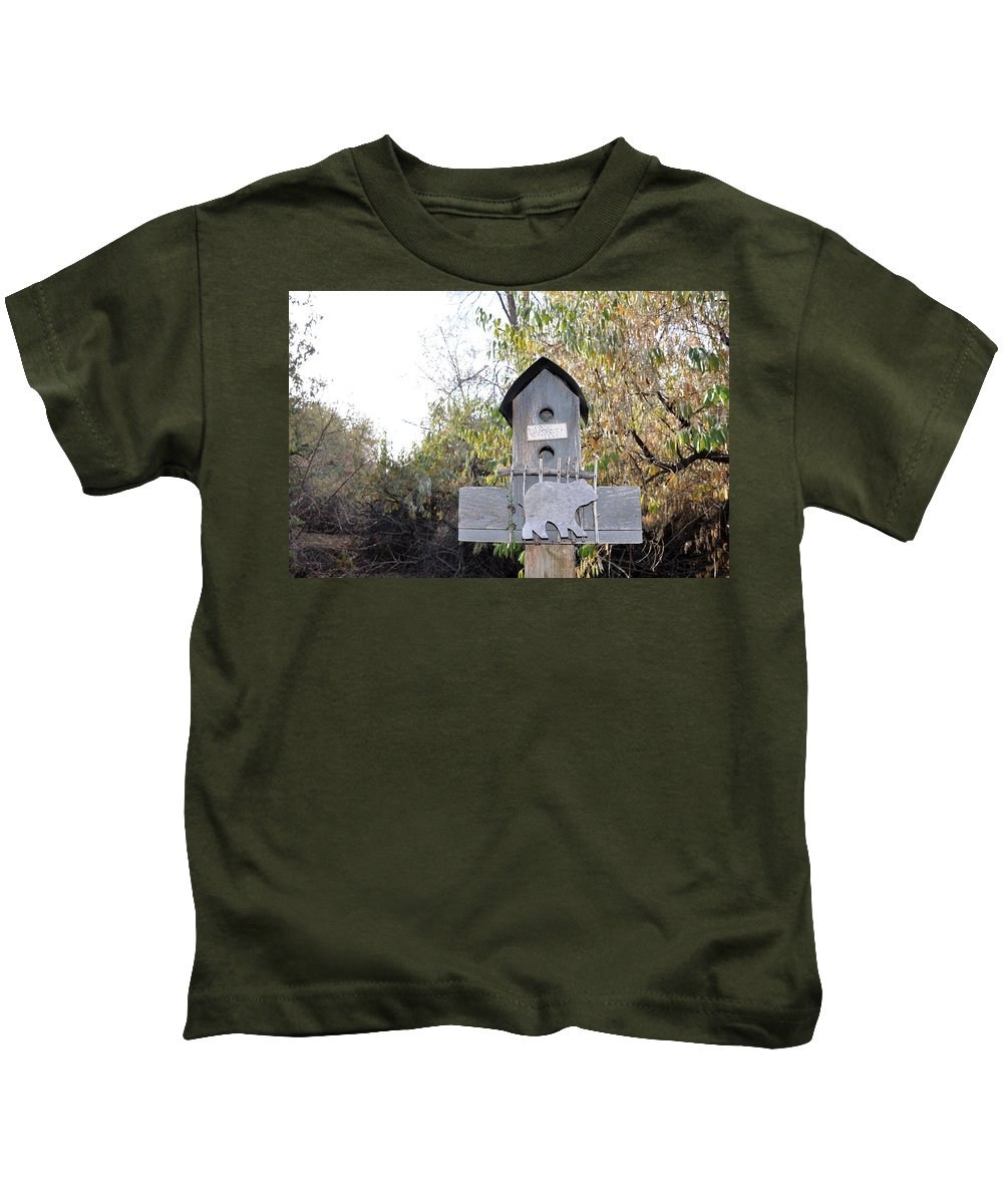 Melba; Idaho; Birdhouse; Shelter; Outdoor; Fall; Autumn; Leaves; Plant; Vegetation; Land; Landscape; Tree; Branch; House; Bear Kids T-Shirt featuring the photograph The Birdhouse Kingdom - The Loggerhead Shrike by Image Takers Photography LLC - Carol Haddon