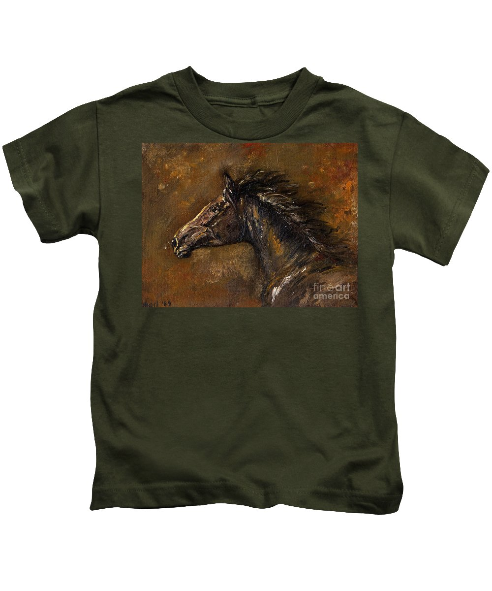Horse Kids T-Shirt featuring the painting The Black Horse Oil Painting by Angel Ciesniarska