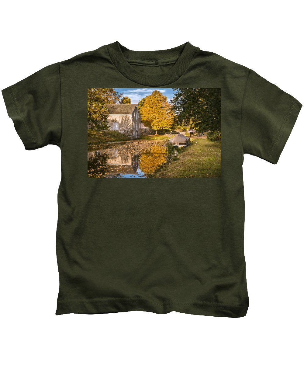 Fall Kids T-Shirt featuring the photograph The Canal Explorer by Eduard Moldoveanu