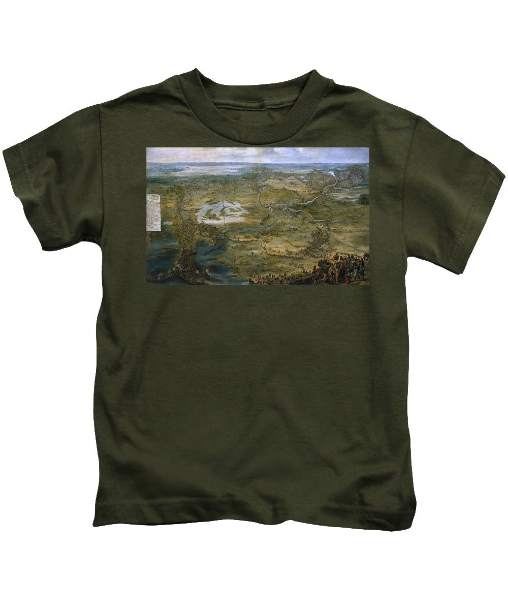 Pieter Snayers Kids T-Shirt featuring the painting The Cavalry At The Siege Of Breda by Pieter Snayers