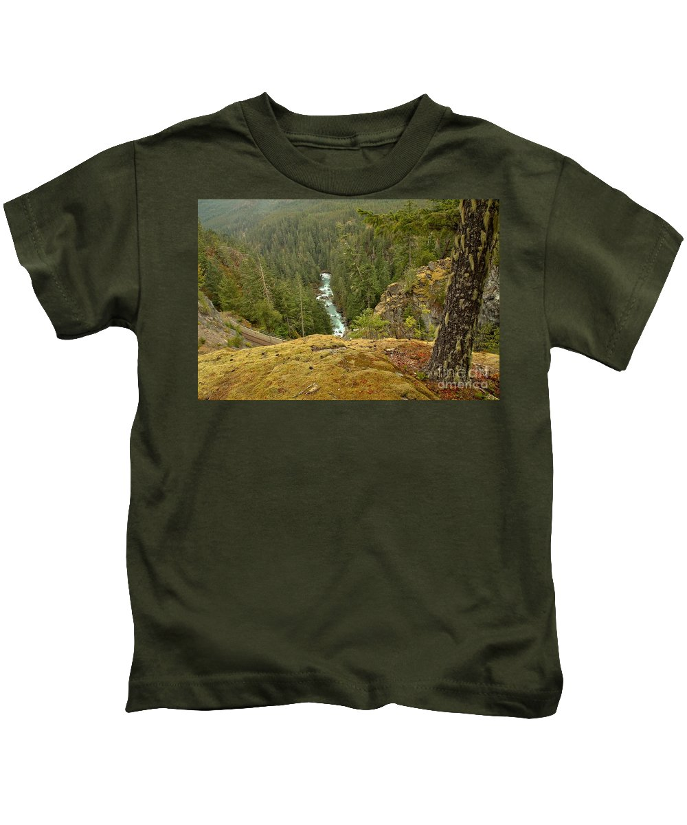 Rocky Mountaineer Kids T-Shirt featuring the photograph The Cheakamus River Gorge by Adam Jewell