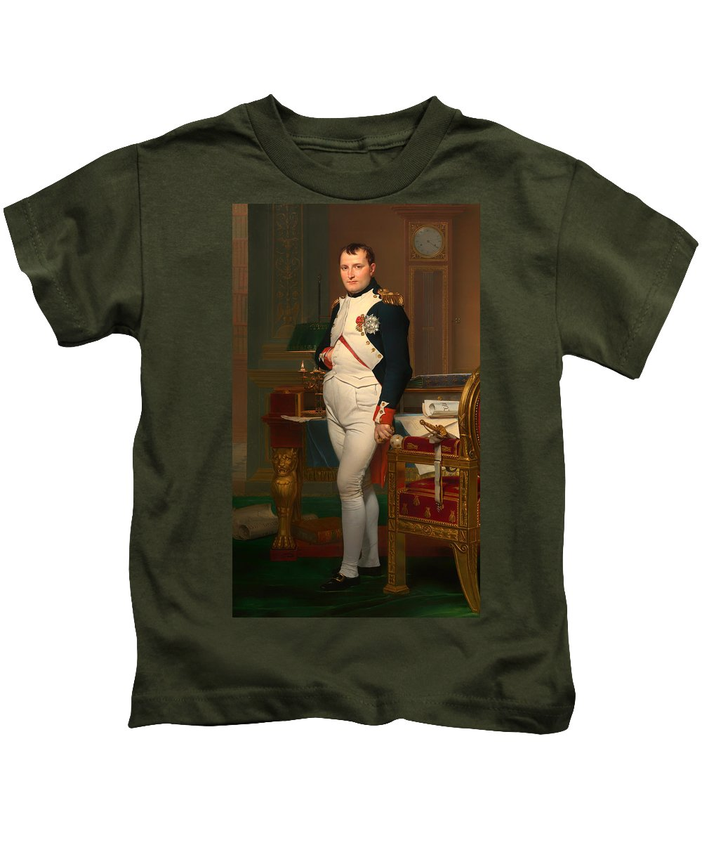 Napoleon Bonaparte Kids T-Shirt featuring the painting The Emperor Napoleon In His Study 1812 by Mountain Dreams