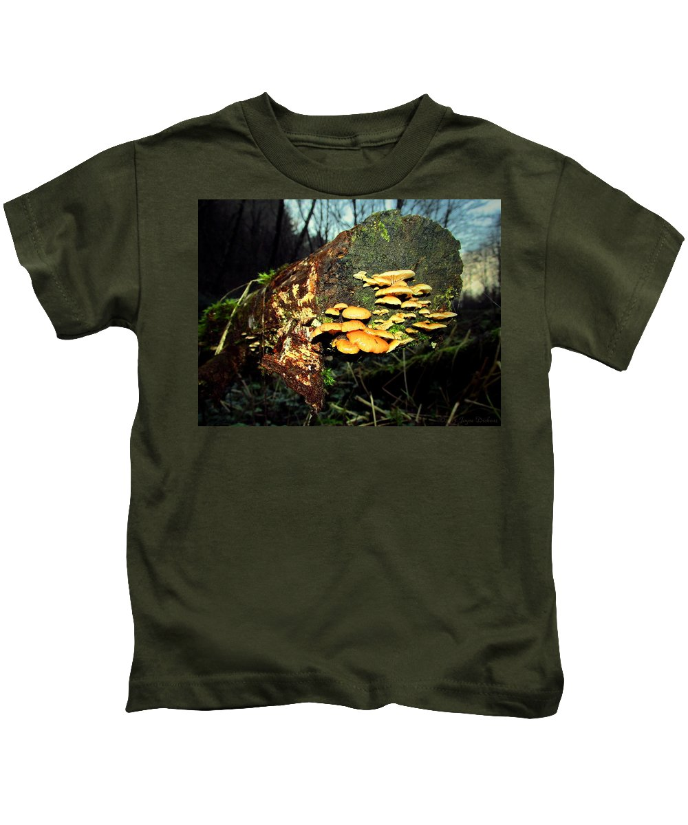 Mushroom Kids T-Shirt featuring the photograph The End Is Just The Beginning by Joyce Dickens