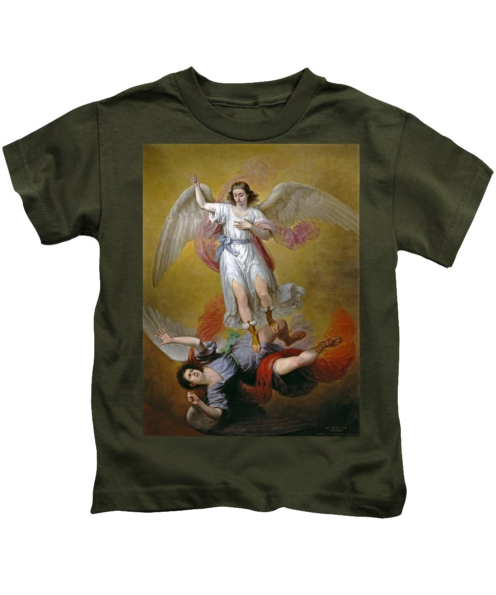 Antonio Maria Esquivel Kids T-Shirt featuring the painting The Fall Of Lucifer by Antonio Maria Esquivel