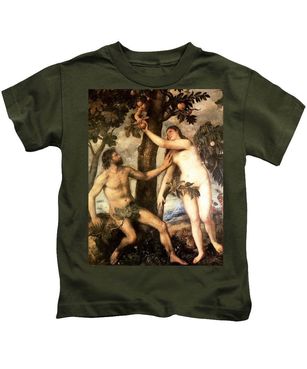 The Fall Of Man Kids T-Shirt featuring the digital art The Fall Of Man by Titian