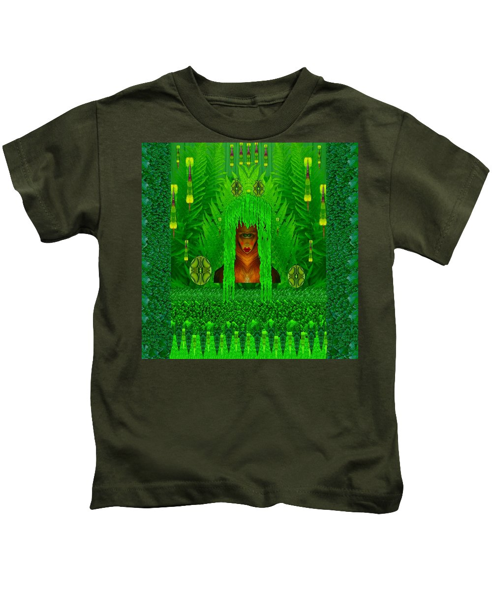 Fauna Kids T-Shirt featuring the mixed media The Fantasy Girl In The Fauna by Pepita Selles